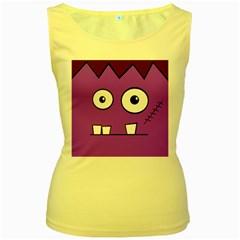 Halloween Frankenstein - Purple Women s Yellow Tank Top