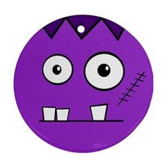 Halloween Frankenstein - Purple Round Ornament (Two Sides)