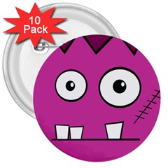Halloween Frankenstein - pink 3  Buttons (10 pack)