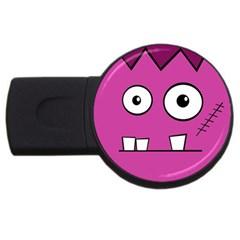 Halloween Frankenstein - pink USB Flash Drive Round (1 GB)