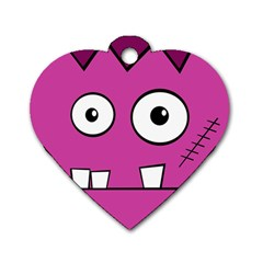 Halloween Frankenstein - pink Dog Tag Heart (Two Sides)