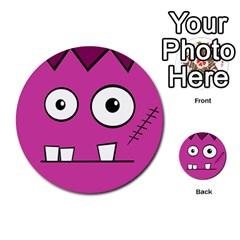 Halloween Frankenstein - pink Multi-purpose Cards (Round)