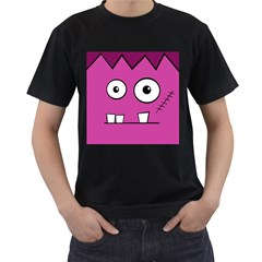 Halloween Frankenstein - pink Men s T-Shirt (Black)
