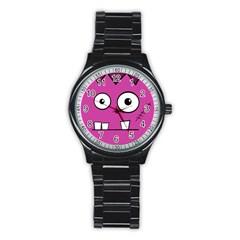Halloween Frankenstein - pink Stainless Steel Round Watch