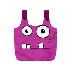 Halloween Frankenstein - pink Full Print Recycle Bags (S)