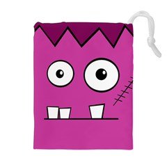 Halloween Frankenstein - pink Drawstring Pouches (Extra Large)