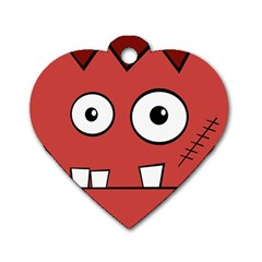 Halloween Frankenstein - Red Dog Tag Heart (One Side)