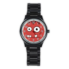 Halloween Frankenstein - Red Stainless Steel Round Watch