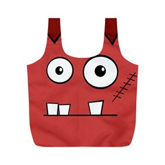 Halloween Frankenstein - Red Full Print Recycle Bags (M)