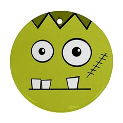 Halloween Frankenstein -Yellow Ornament (Round)