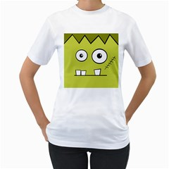 Halloween Frankenstein -Yellow Women s T-Shirt (White) (Two Sided)