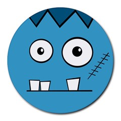 Halloween Frankenstein - Blue Round Mousepads