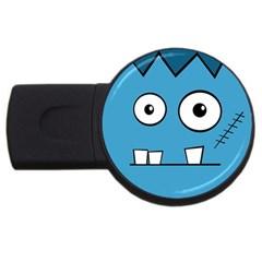 Halloween Frankenstein - Blue USB Flash Drive Round (2 GB)