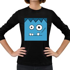 Halloween Frankenstein - Blue Women s Long Sleeve Dark T-Shirts