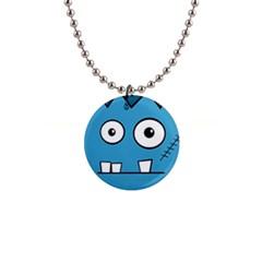 Halloween Frankenstein - Blue Button Necklaces