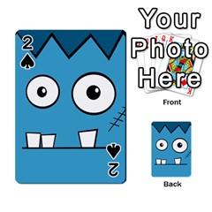 Halloween Frankenstein - Blue Playing Cards 54 Designs