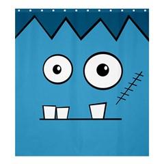 Halloween Frankenstein - Blue Shower Curtain 66  x 72  (Large)