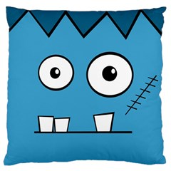 Halloween Frankenstein - Blue Large Flano Cushion Case (One Side)