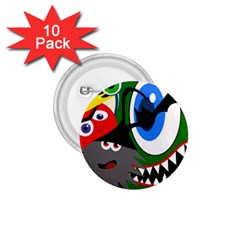Halloween monsters 1.75  Buttons (10 pack)