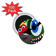 Halloween monsters 1.75  Magnets (100 pack)