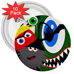 Halloween monsters 3  Buttons (10 pack)