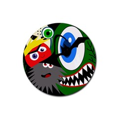 Halloween monsters Rubber Round Coaster (4 pack)