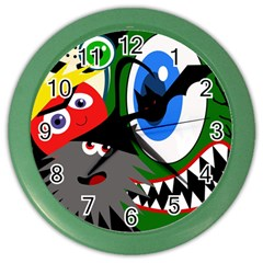 Halloween monsters Color Wall Clocks
