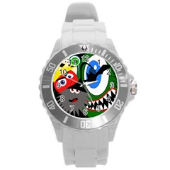 Halloween monsters Round Plastic Sport Watch (L)