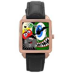 Halloween monsters Rose Gold Leather Watch