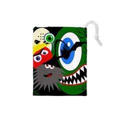 Halloween monsters Drawstring Pouches (Small)