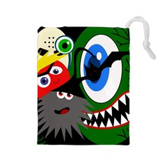 Halloween monsters Drawstring Pouches (Large)