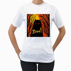 Halloween monster Women s T-Shirt (White) (Two Sided)
