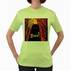 Halloween monster Women s Green T-Shirt