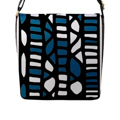 Blue decor Flap Messenger Bag (L)