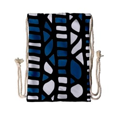 Blue decor Drawstring Bag (Small)