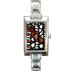 Red decor Rectangle Italian Charm Watch