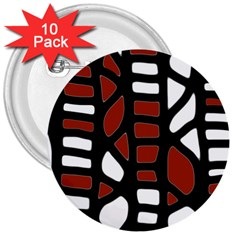 Red decor 3  Buttons (10 pack)