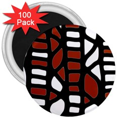 Red decor 3  Magnets (100 pack)