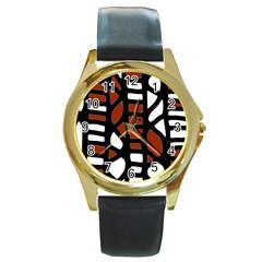 Red decor Round Gold Metal Watch