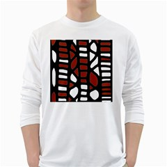 Red decor White Long Sleeve T-Shirts