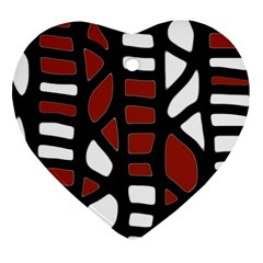 Red decor Heart Ornament (2 Sides)