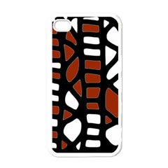 Red decor Apple iPhone 4 Case (White)