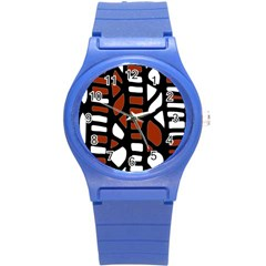 Red decor Round Plastic Sport Watch (S)