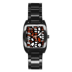 Red decor Stainless Steel Barrel Watch