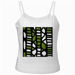 Green decor White Spaghetti Tank