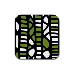 Green decor Rubber Square Coaster (4 pack)
