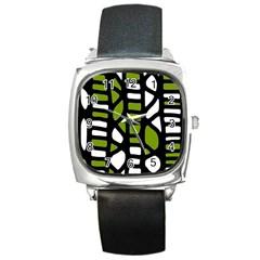 Green decor Square Metal Watch