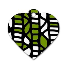 Green decor Dog Tag Heart (One Side)