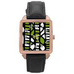 Green decor Rose Gold Leather Watch