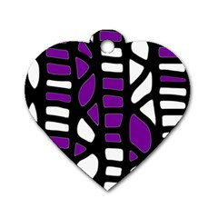Purple decor Dog Tag Heart (One Side)